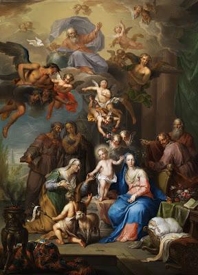 Imagem da Sagrada Família com Sant'Ana, São João Batista, Espírito Santo e Deus Pai, pintura, #1