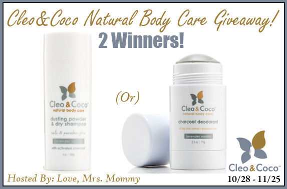 Two winners will receive their choice of either a Charcoal Deodorant OR Dusting Powder & Dry Shampoo when this Natural Body Care Giveaway ends 11/25!  #Win #Winit #Sweeps #ContestAlert #Competition #Giveaway #GiveawayAlert #Prize #Free #Gift
