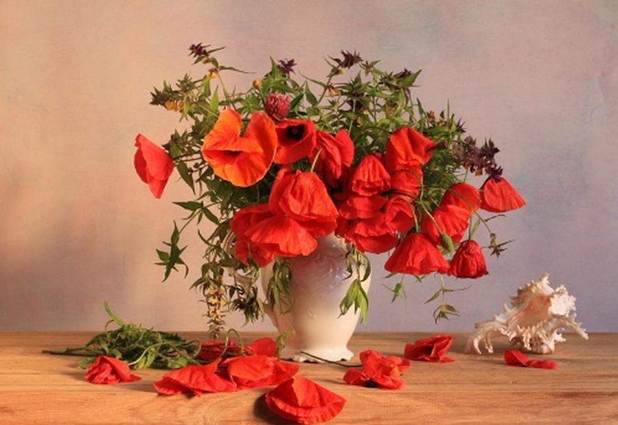 Im genes arte pinturas jarrones blancos y de cristal con - Jarrones de cristal con flores ...