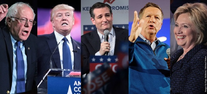 Sanders, Trump, Cruz, Kasich, Clinton