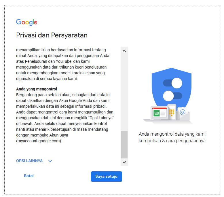 Halaman Privasi dan Pernyataan
