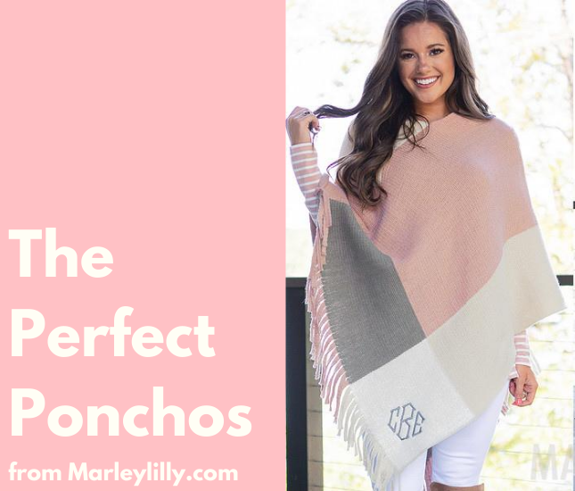 poncho, fall, winter, monogram, personalized poncho, marleylilly