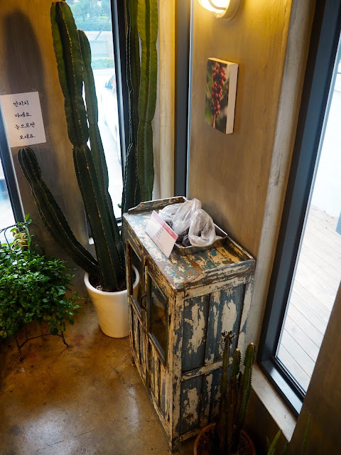 Cafe interior details - cactus plant and old, worn crate table inside Red Velvet Cafe in Myeongnyun, Busan, South Korea