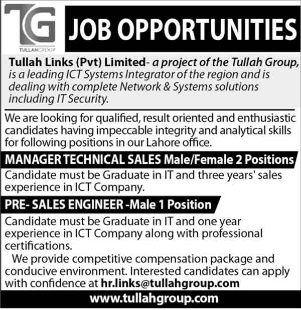 Technical Manager, Sales Engineer Jobs In Tullah Links Limited 22 Sep 2017