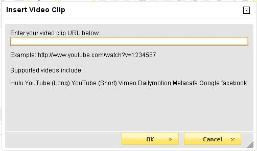 Insert Youtube, Facebook, Dailymotion, Google, Playwire