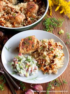 kurczak duszony z ryzem i kurkami, kureczki, kurczak z grzybami, danie jednogarnkowe, grzyby