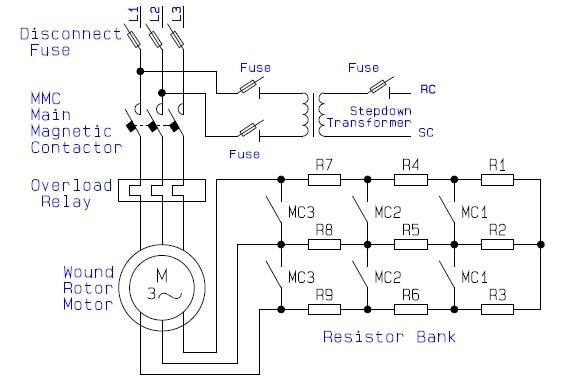 Wound%2BRotor%2BMotor%2BPower%2BCircuit Wound Induction Motor Wiring Diagram on induction motor circuit diagram, 3 phase motor connection diagram, wye delta connection diagram, single-phase motor reversing diagram,