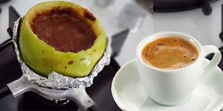 elma içinde Türk kahvesi yapımı, KahveKafeNet