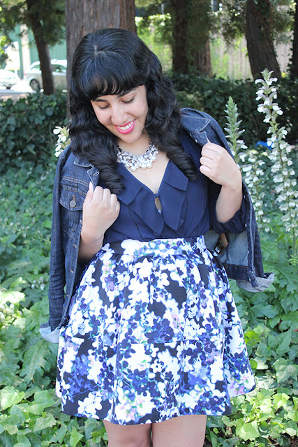 Shades of Blue Denim Jacket and Floral Skirt Summer Outfit