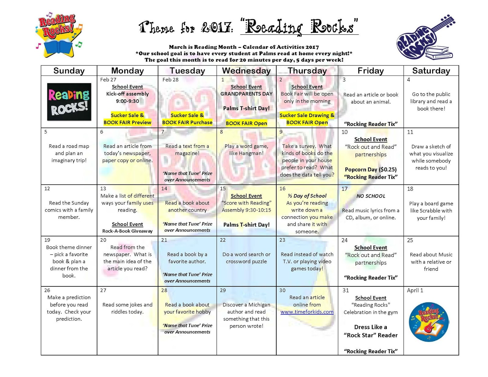 Palms Postings March Is Reading Month Calendar