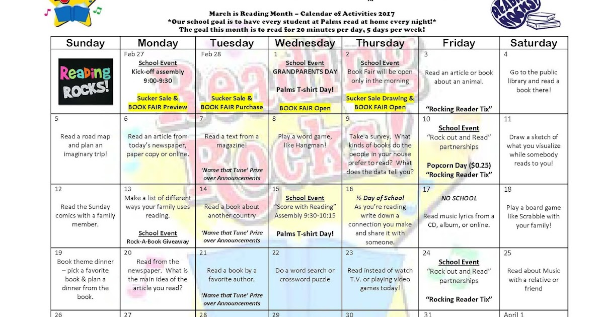 Monthly Reading Calendar : Palms postings march is reading month calendar