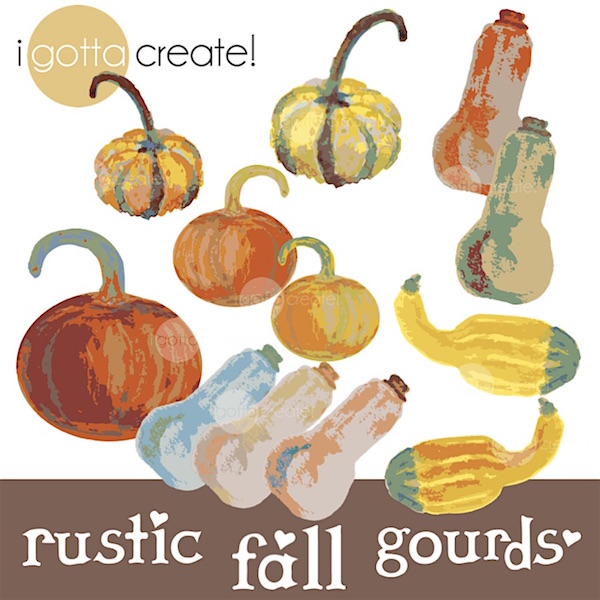 Rustic Fall Autumn Gourds Pumpkins and Squash Digital Clip Art by iGottaCreate!