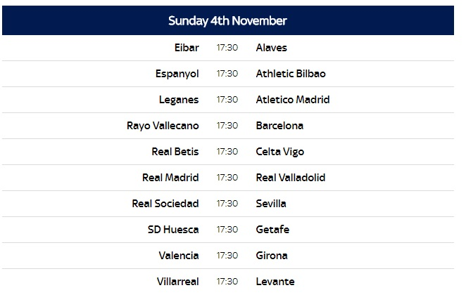 Spanish La Liga 2018 19 Fixtures Confirmed