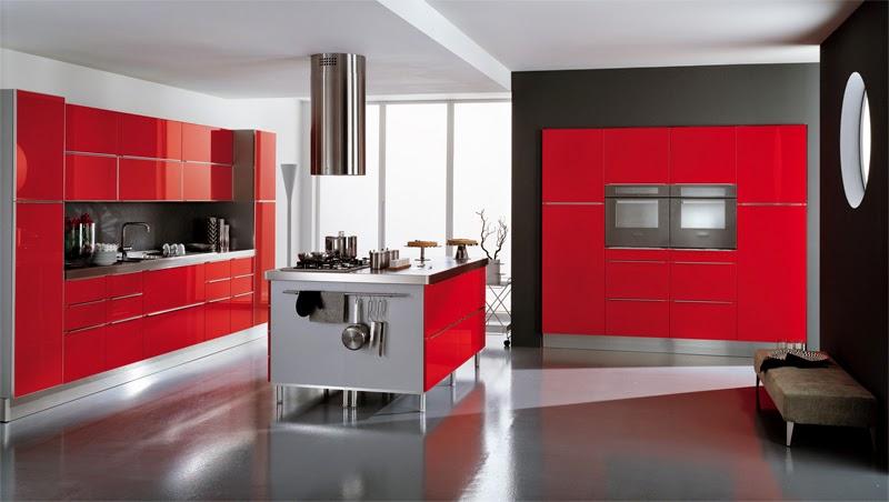 new modern design interior red kitchen  interior design