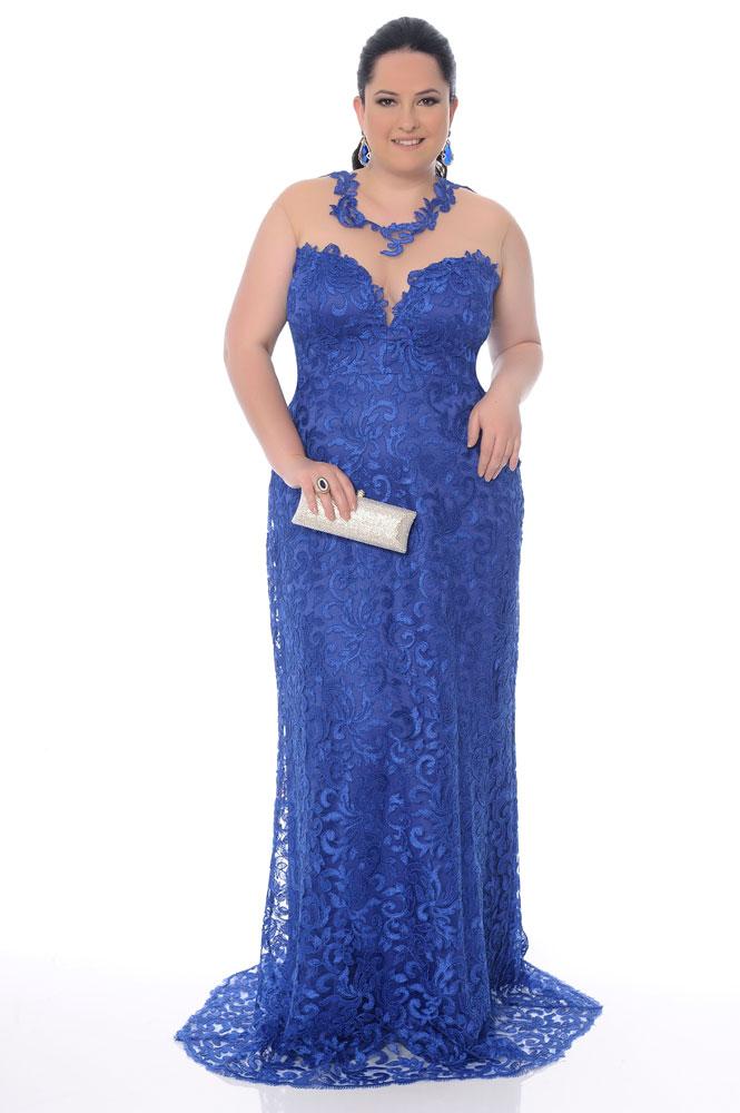 Vestido madrinha azul plus size