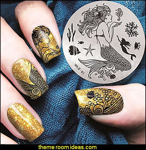 Mermaid Nail Art Stamping Image Template Plates