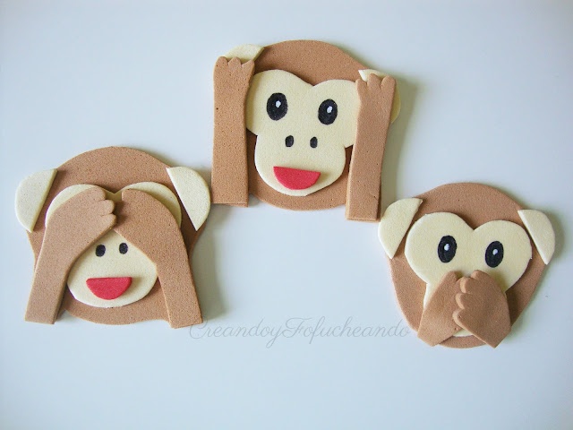 Imanes de los monos de WhatsApp en goma eva