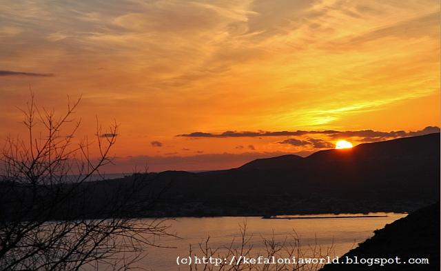Kefalonia sunset over Lixouri