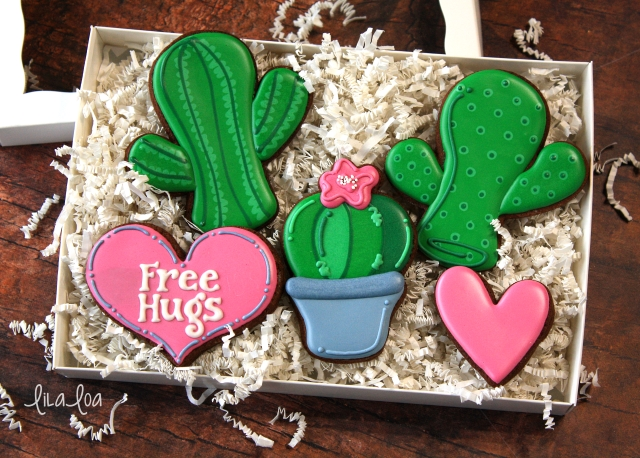 Valentine's Day cactus cookie tutorial
