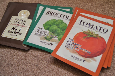 Korean/Asian skincare haul review brands skinfood black sugar tomato broccoli sheet masks korea