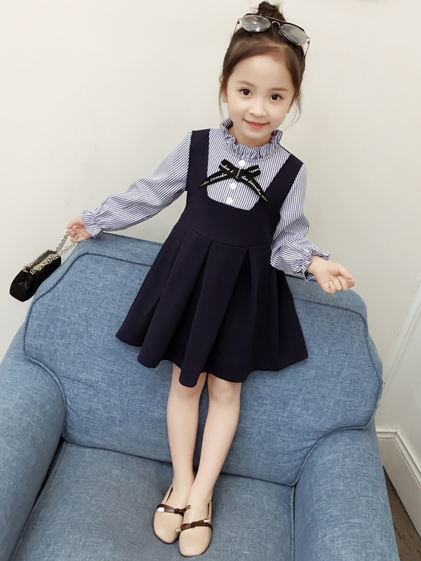 Striped Ruched Long Sleeve Girls Dress