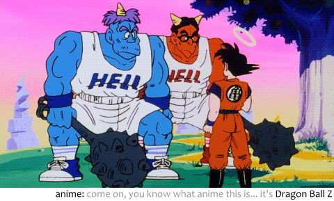 Blue oni and red oni from hell talking to Goku in the anime Dragon Ball Z.