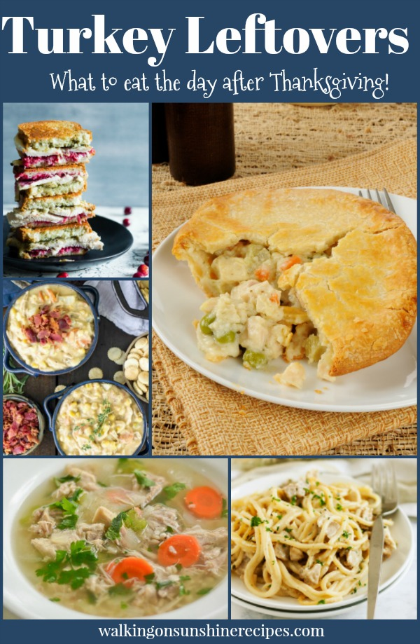 5 delicious leftover turkey recipes to use for dinner from Walking on Sunshine Recipes.