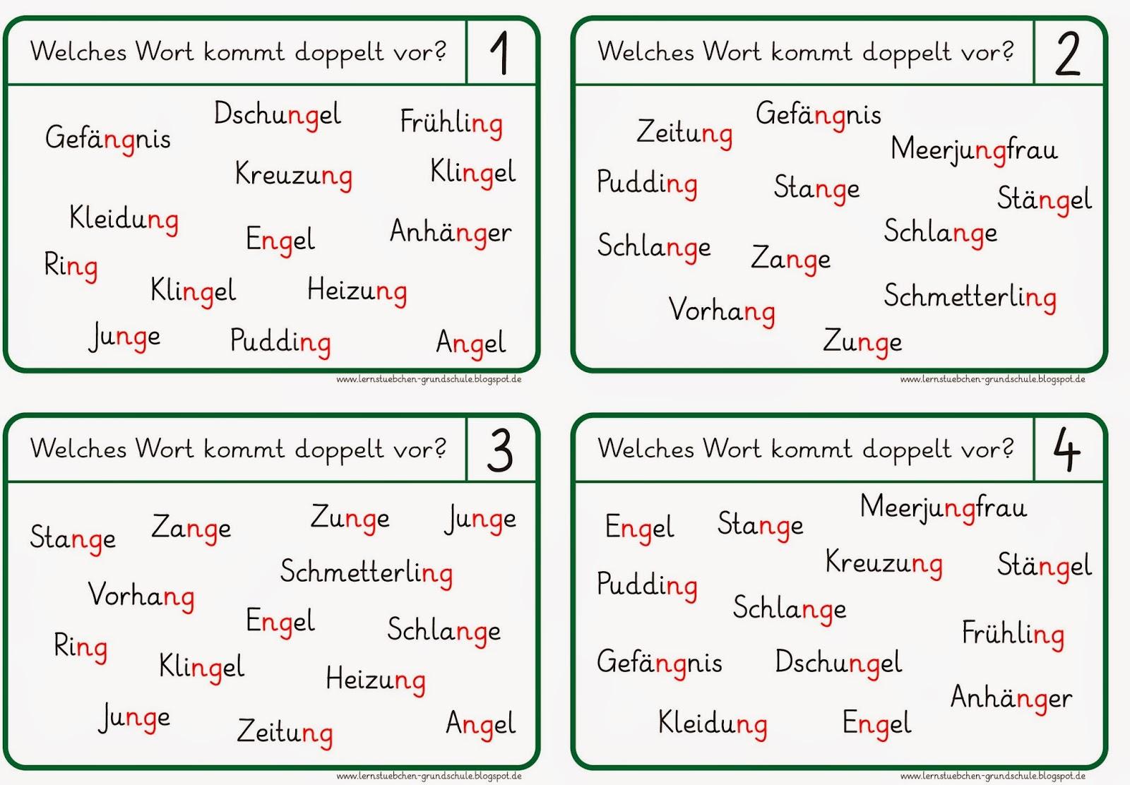 Lernstübchen: Lese- und Schreibkärtchen zu ng-Wörtern