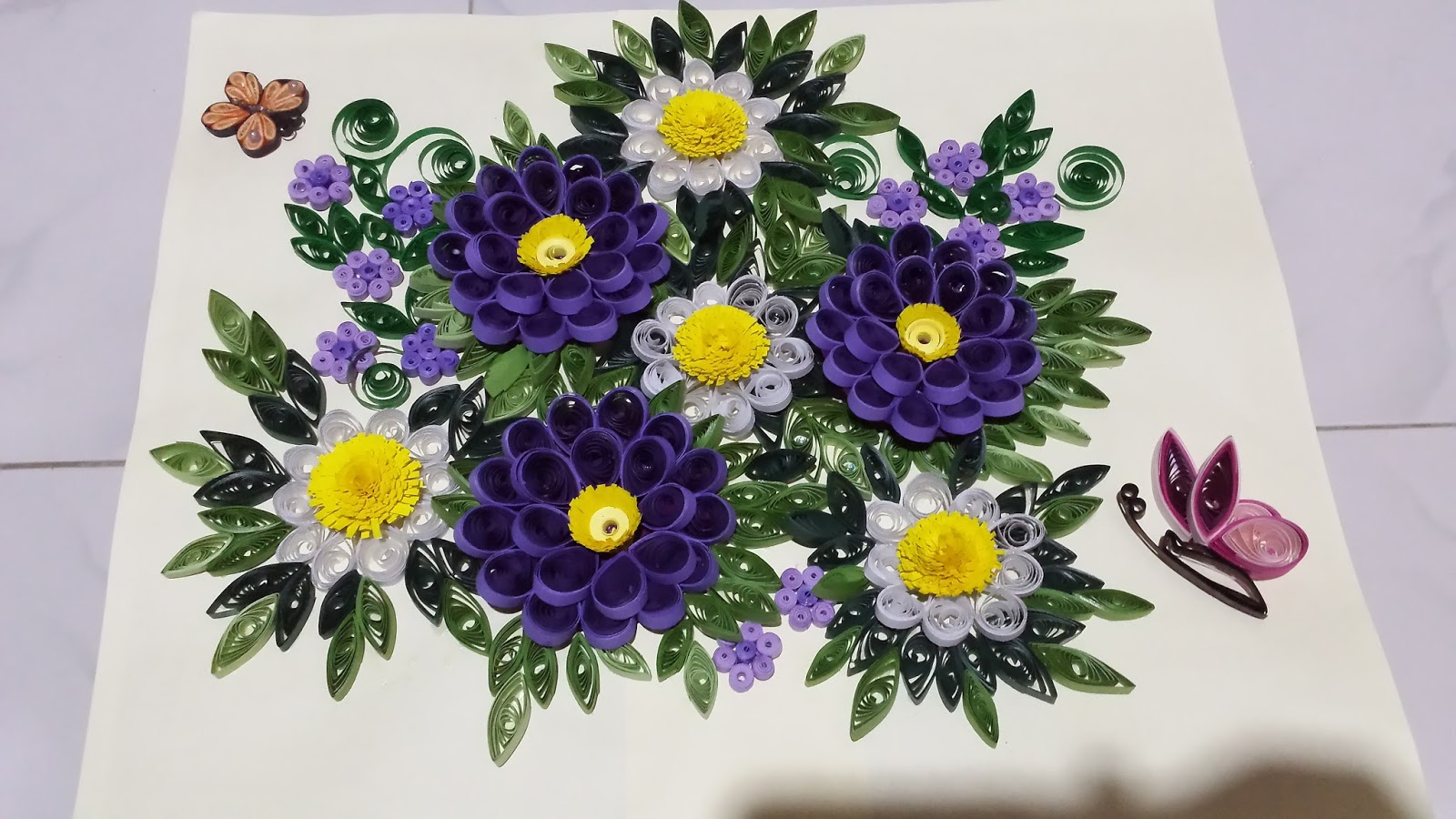 Paper Quilling By Sheri Wall Hanger With Purple 3d Flowers