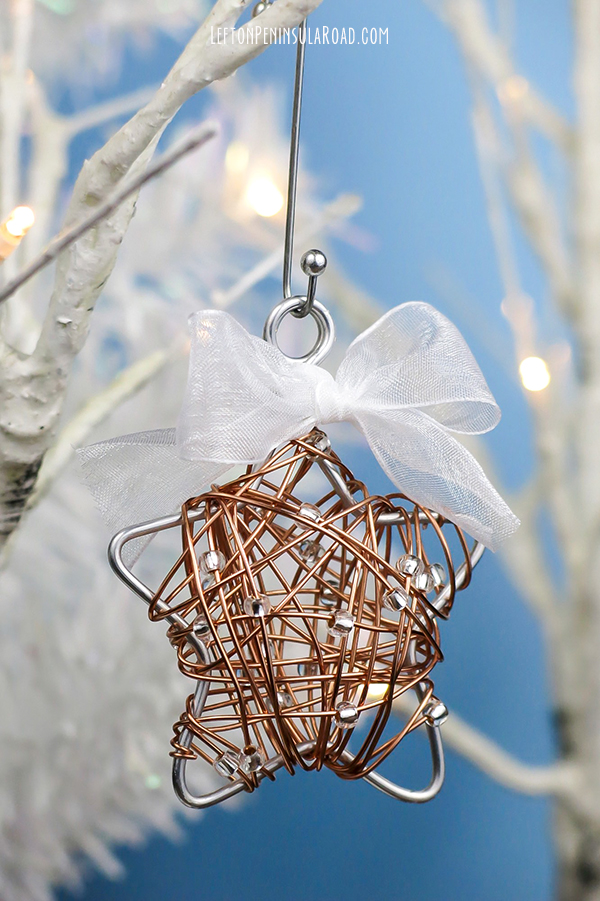 Beaded and wire-wrapped Christmas ornament how-to.