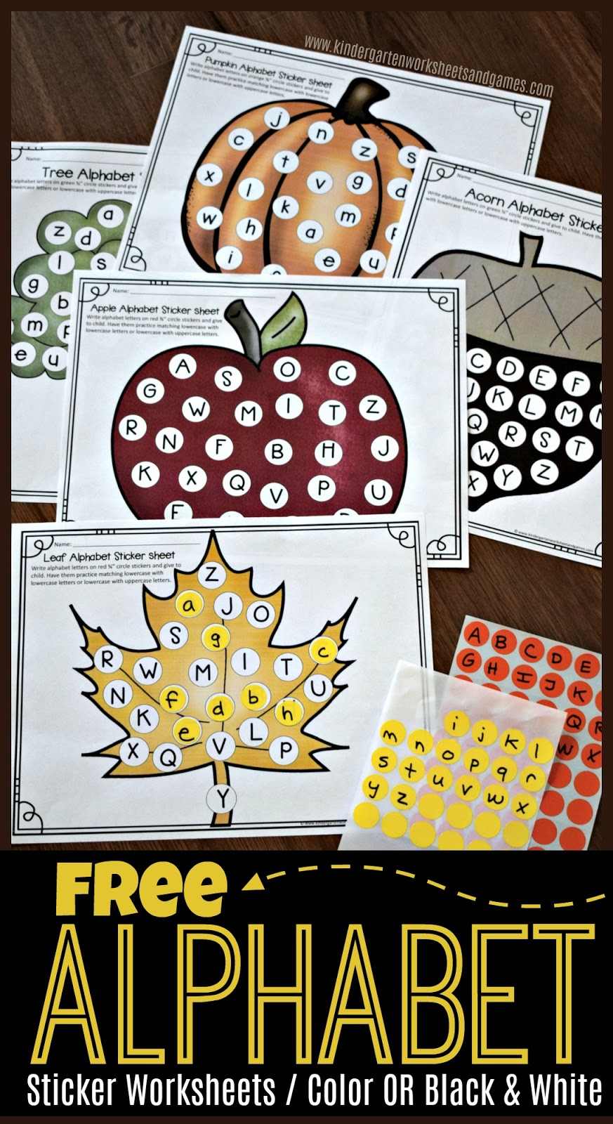 NEW! Free Alphabet Circle Sticker Worksheets