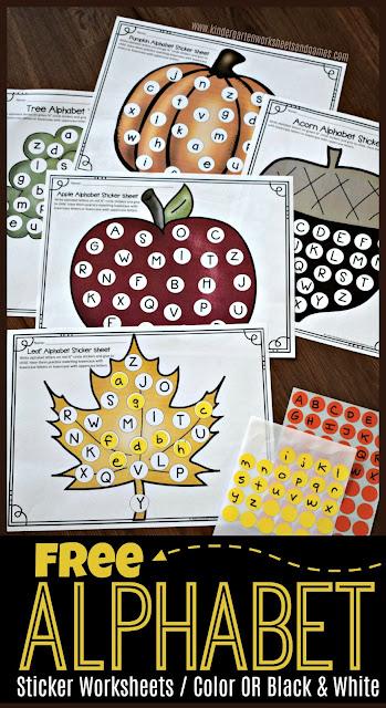Free Alphabet Circle Sticker Worksheets