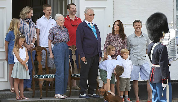 Queen Margrethe and HRH Prince Consort Henrik, Crown Prince Frederick and Crown Princess Mary, Prince Christian, Princess Isabella, Prince Vincent, Princess Josephine and Princess Alexandra and Count Jefferso