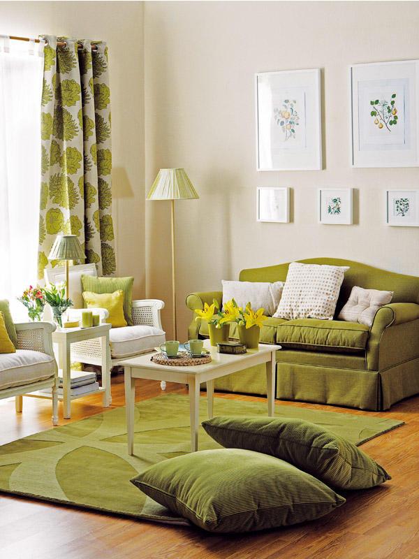 Salas decoradas em verde decora o e ideias for Cortinas verdes para salon