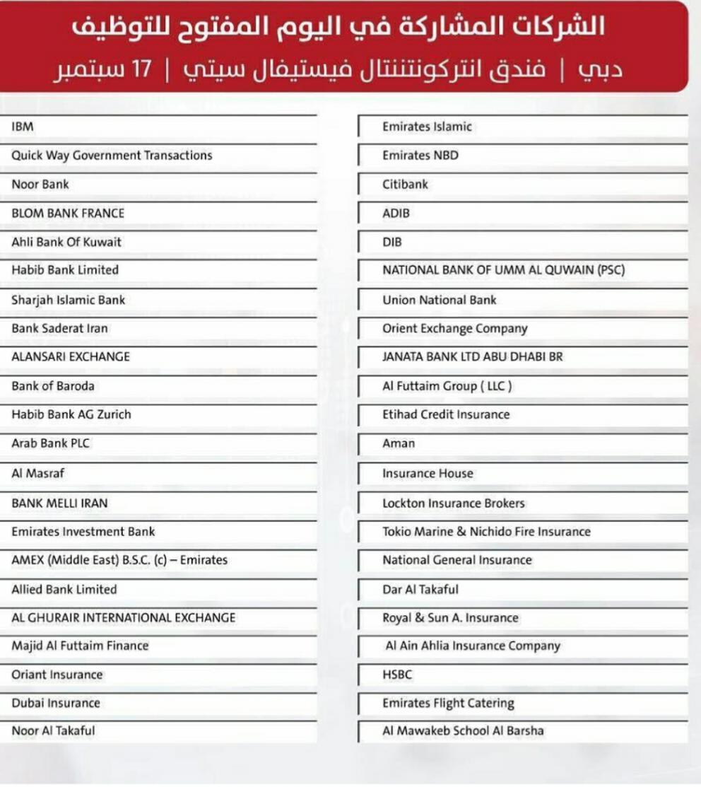 22 شركة مشاركة في اليوم المفتوح للتوظيف - دبي