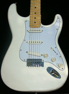 image results for a White custom shop Stratocaster with amber neck and sky blue pick gaurd