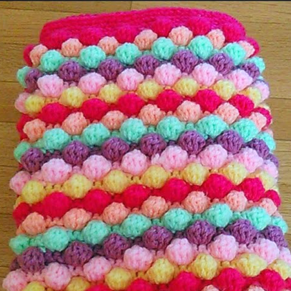 Crochet Baby Girl Bobble Blanket - Free Pattern