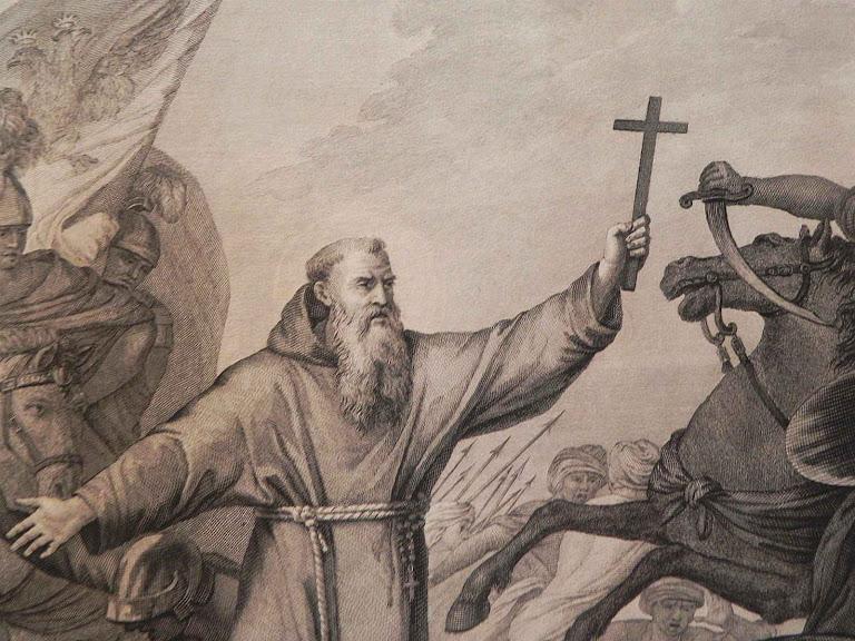 São Lourenço de Brindisi enfrenta cimitarra com a Cruz.