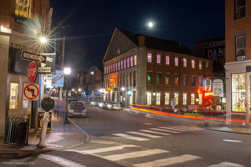 Portland, Maine USA November 2016 photo by Corey Templeton. Another look at the moon over the Old Port on Saturday evening.