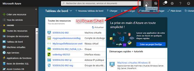 Ouvrir la fenêtre de commande Azure Cloud Shell (PowerShell)