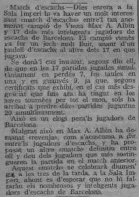 Recorte de La Veu de Catalunya, 1 de agosto de 1910