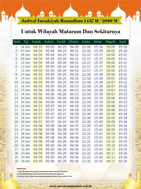 Jadwal Imsakiyah Mataram 2016 Ramadhan 1437 H