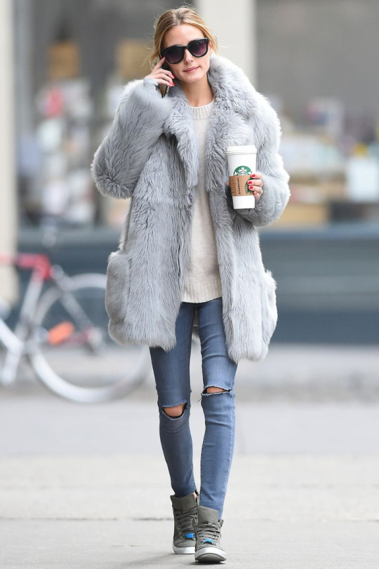 Olivia Palermo Style Fur Coat Max & Co Sneakers
