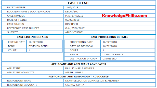 CAT Order Regarding SSC CGL 2017 Normalization Case M.A. (16.02.2018)