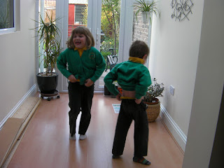 laughing children showing bottoms