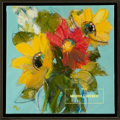 Floral Express original joy-filled mixed media floral painting by Merrill Weber
