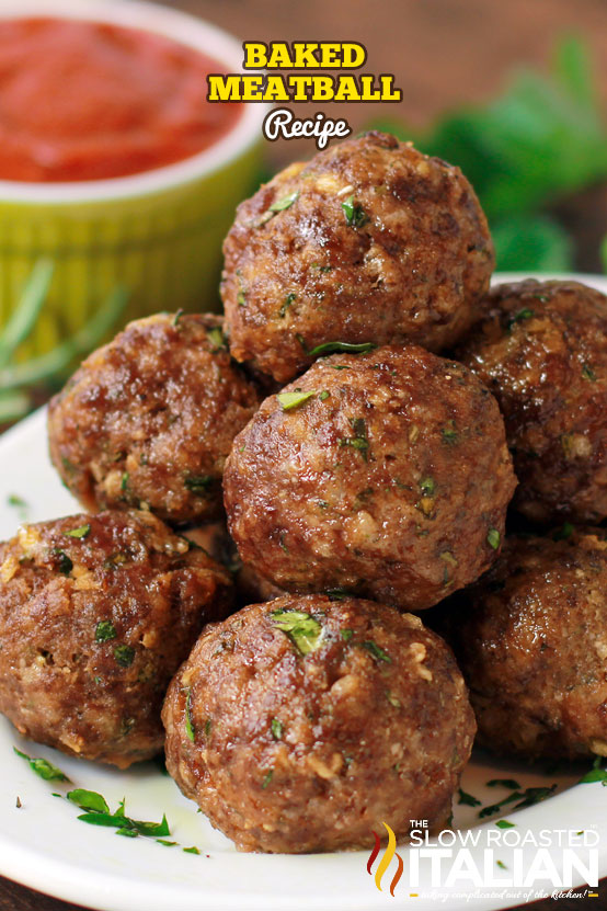 baked meatballs stacked on a plate