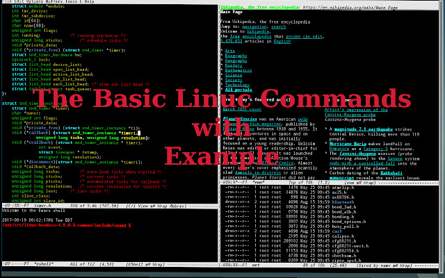 Llinx terminal commands list with examples