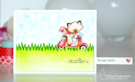 Scootin' By Interactive Card by Tatiana Trafimovich | Newton Scoots By Stamp set by Newton's Nook Designs #newtonsnook