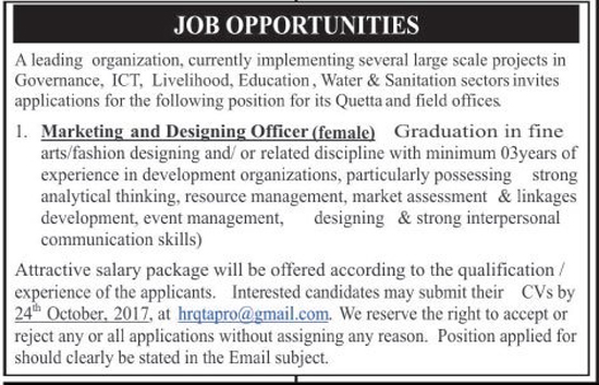 Female Marketing And Designing Officer Jobs In Leading Organization Pakistan Oct 2017